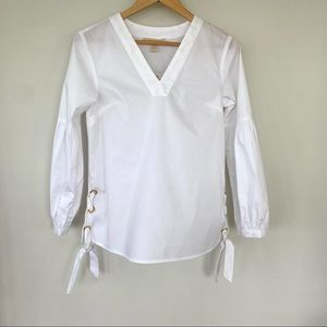 Michael Kors white cotton blend top with ties NWT